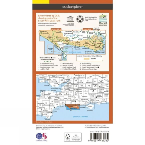 Active Explorer Map OL15 Purbeck and South Dorset