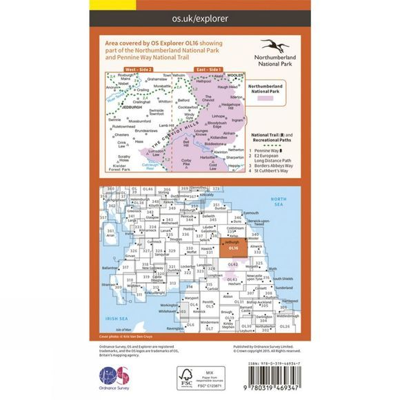 Ordnance Survey Active Explorer Map OL16 The Cheviot Hills V15