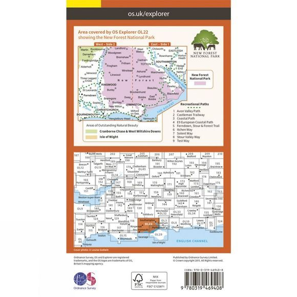 Ordnance Survey Active Explorer Map OL22 New Forest V15