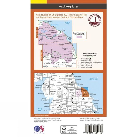 Ordnance Survey Active Explorer Map OL27 North York Moors - Eastern Area V15