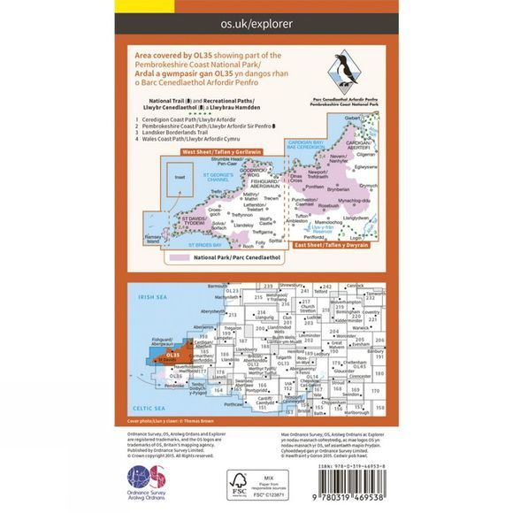 Ordnance Survey Active Explorer Map OL35 North Pembrokeshire V15