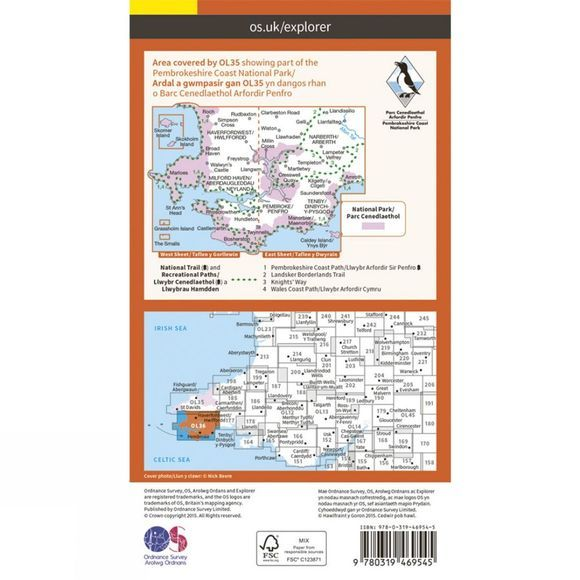 Ordnance Survey Active Explorer Map OL36 South Pembrokeshire V15