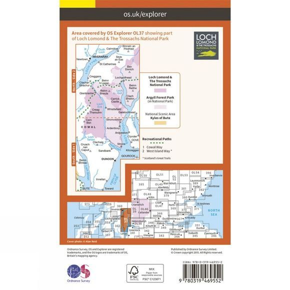 Ordnance Survey Active Explorer Map OL37 Cowal East V15