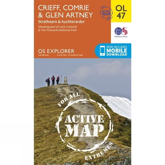 Ordnance Survey Active Explorer Map OL47 Crieff, Comrie and Glen Artney V15