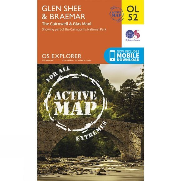 Ordnance Survey Active Explorer Map OL52 Glen Shee and Braemar V15