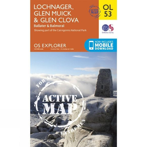 Ordnance Survey Active Explorer Map OL53 Lochnagar, Glen Muick and Glen Clova V15