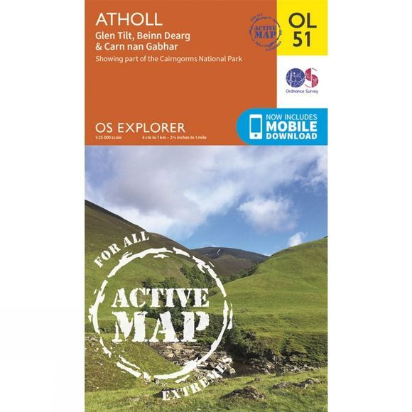 Ordnance Survey Active Explorer Map OL51 Atholl V15