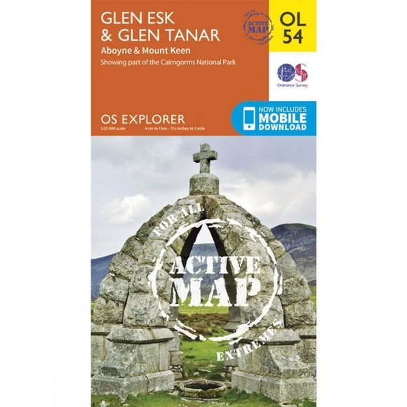 Active Explorer Map OL54 Glen Esk and Glen Tanar