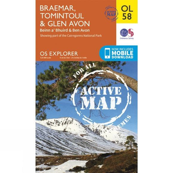Ordnance Survey Active Explorer Map OL58 Braemar, Tomintoul and Glen Avon V15