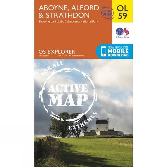 Ordnance Survey Active Explorer Map OL59 Aboyne, Alford and Strathdon V15