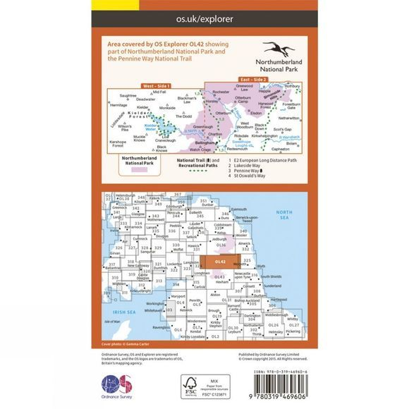 Ordnance Survey Active Explorer Map OL42 Kielder Water and Forest V15