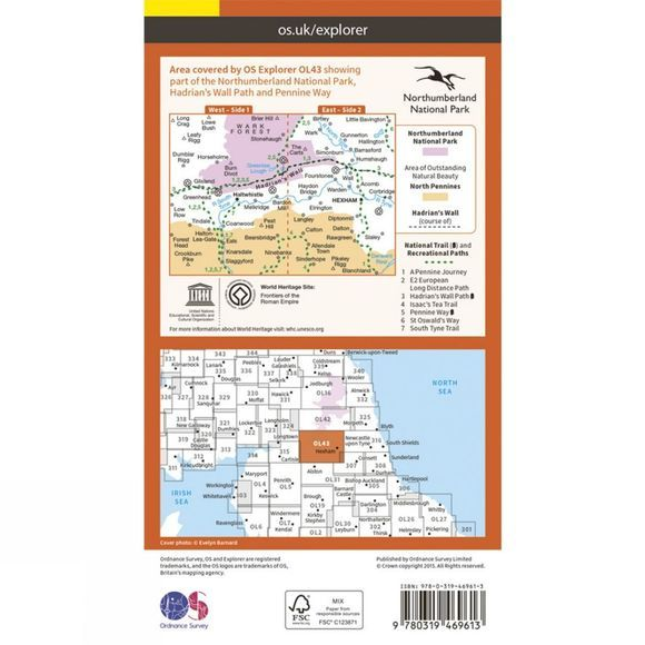 Ordnance Survey Active Explorer Map OL43 Hadrian's Wall V15