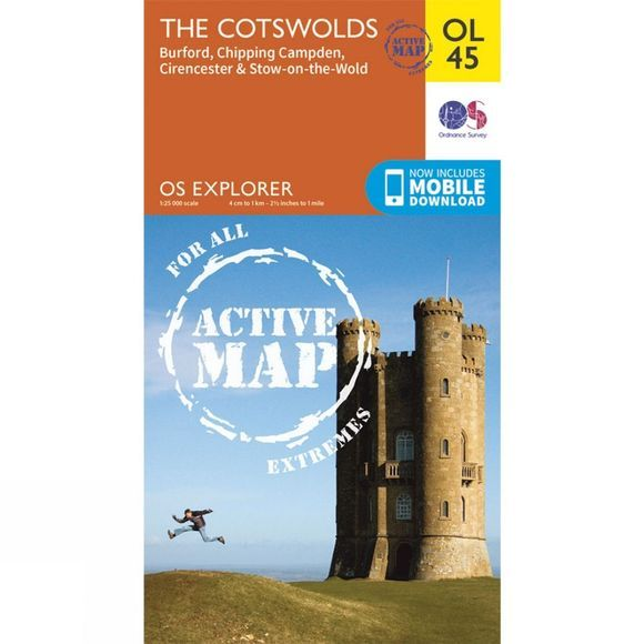 Ordnance Survey Active Explorer Map OL45 The Cotswolds V15