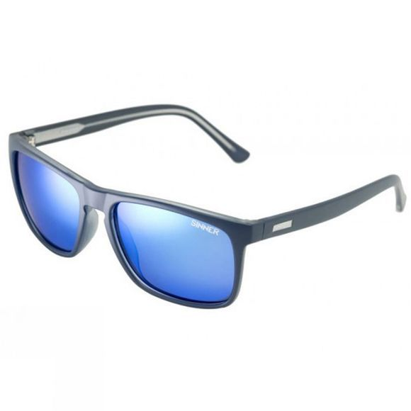 Sinner Oak Polarised Sunglasses Matt Dark Blue/Icy Blue Mirror