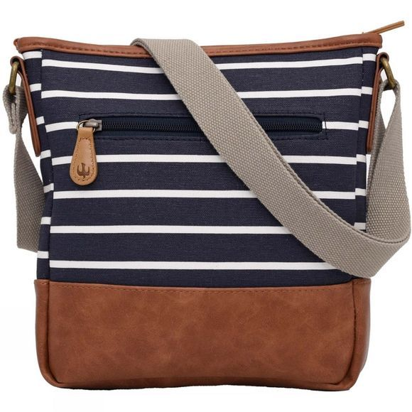 Brakeburn Womens Stripe Cross Body Bag Navy