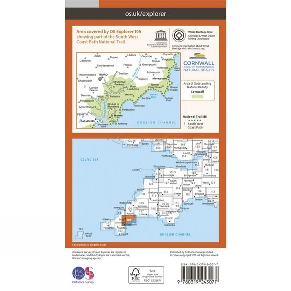 Explorer Map 105 Falmouth and Mevagissey