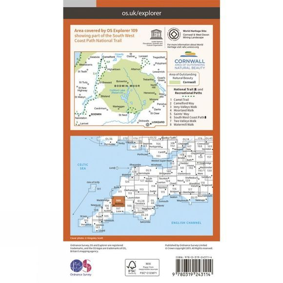 Ordnance Survey Explorer Map 109 Bodmin Moor V15