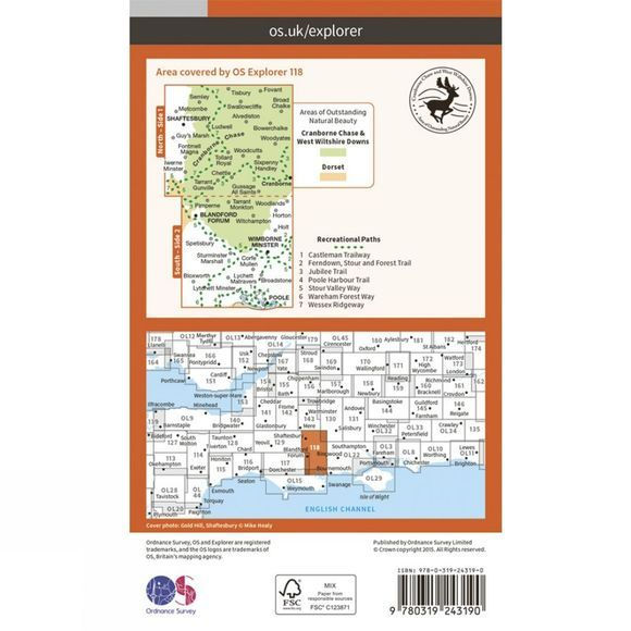 Ordnance Survey Explorer Map 118 Shaftesbury and Cranborne Chase V15