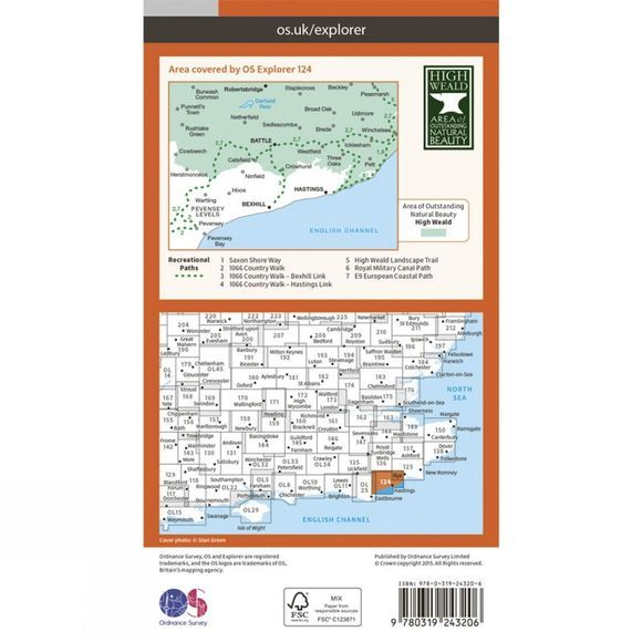 Ordnance Survey Explorer Map 124 Hastings and Bexhill V15