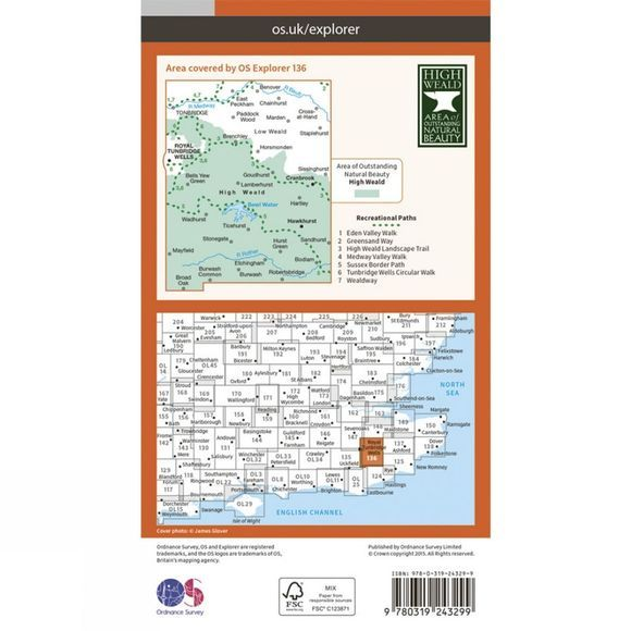 Ordnance Survey Explorer Map 136 High Weald V15