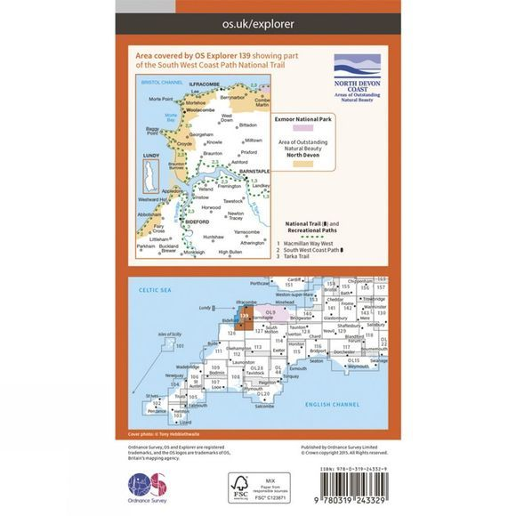 Ordnance Survey Explorer Map 139 Bideford, Ilfracombe and Barnstaple V15