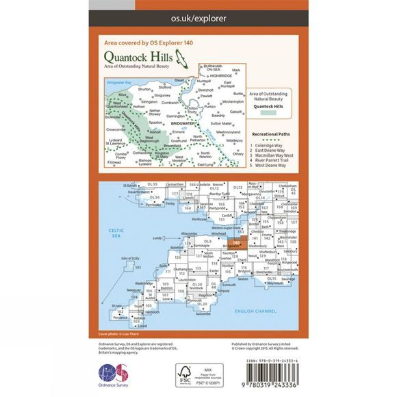 Ordnance Survey Explorer Map 140 Quantock Hills and Bridgwater V15