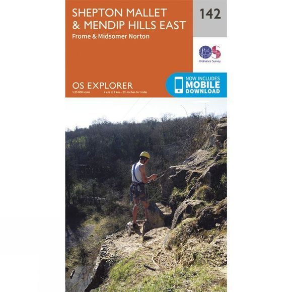 Ordnance Survey Explorer Map 142 Shepton Mallet and Mendip Hills East V15