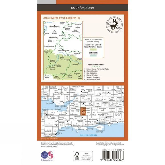 Ordnance Survey Explorer Map 143 Warminster and Trowbridge V15
