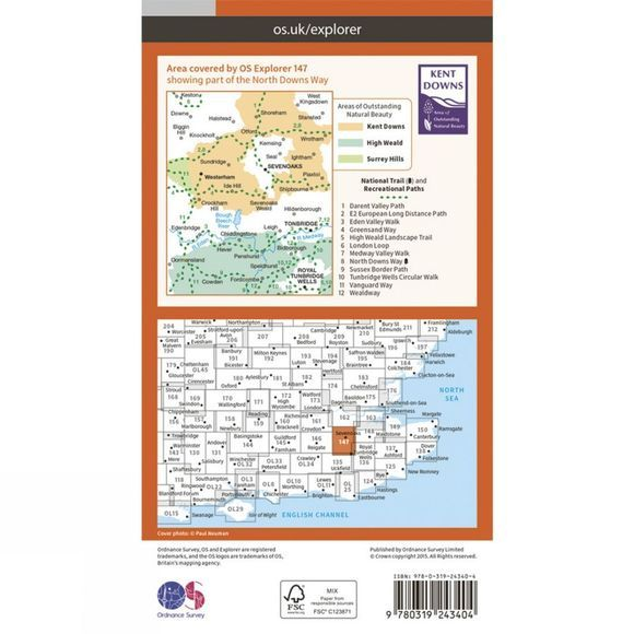 Explorer Map 147 Sevenoaks and Tonbridge