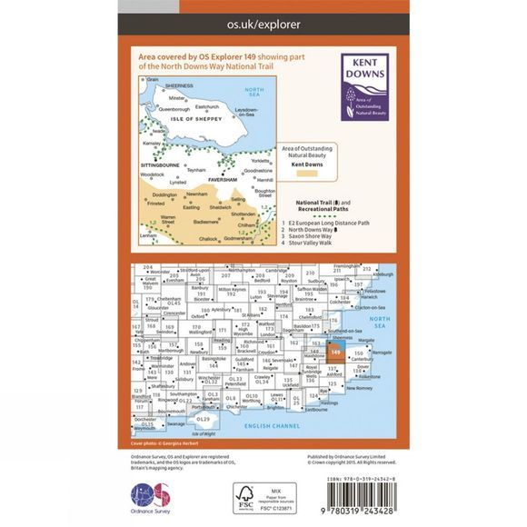 Ordnance Survey Explorer Map 149 Sittingbourne and Faversham V15