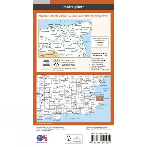 Ordnance Survey Explorer Map 150 Canterbury and the Isle of Thanet V15