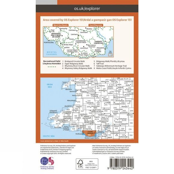 Ordnance Survey Explorer Map 151 Cardiff and Bridgend V15
