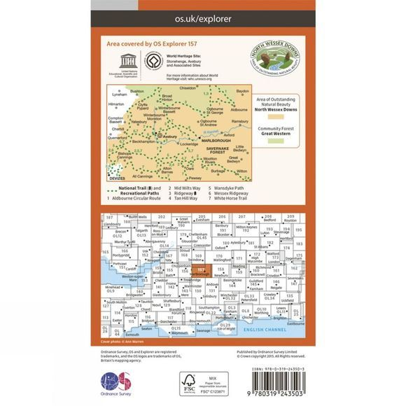 Ordnance Survey Explorer Map 157 Marlborough and Savernake Forest V15