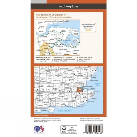 Explorer Map 163 Gravesend and Rochester