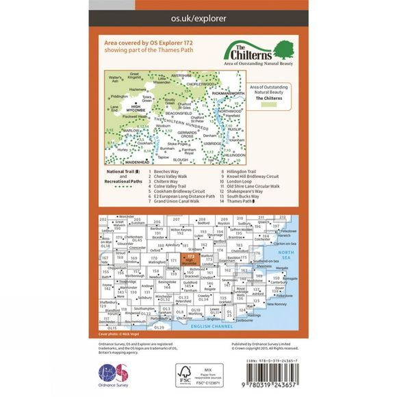 Ordnance Survey Explorer Map 172 Chiltern Hills East V15