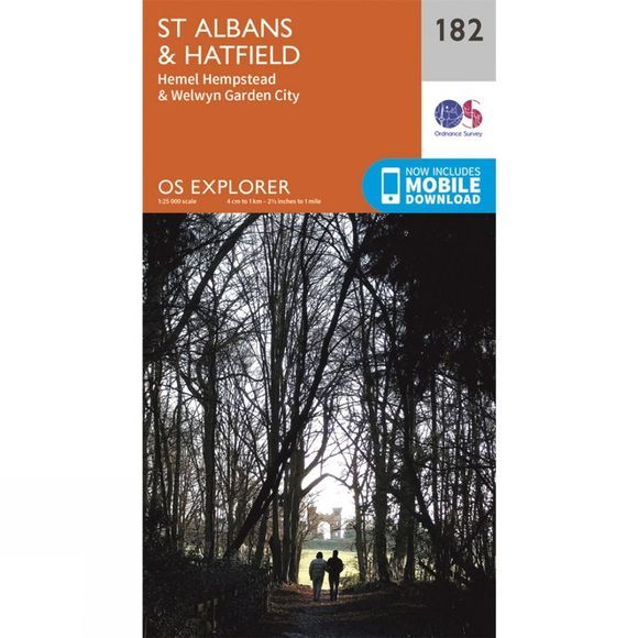 Ordnance Survey Explorer Map 182 St Albans and Hatfield V15