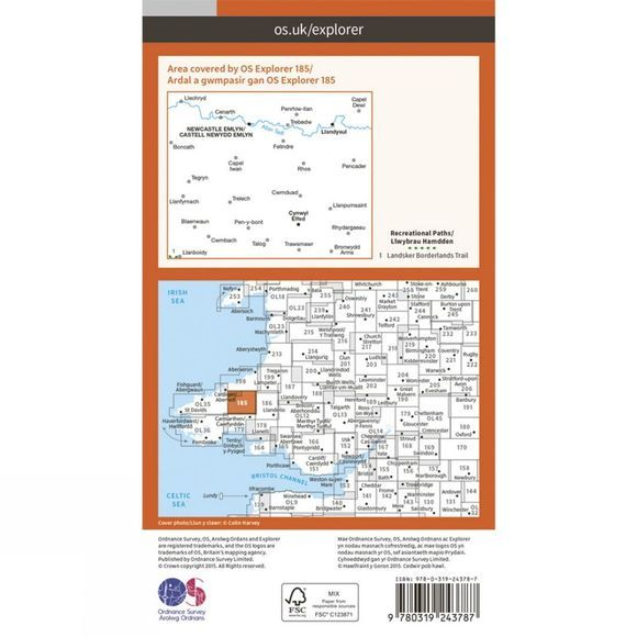 Explorer Map 185 Newcastle Emlyn