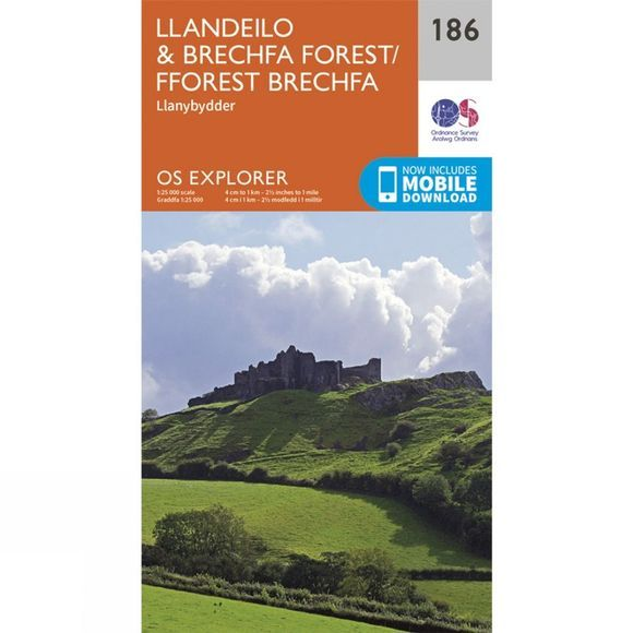 Ordnance Survey Explorer Map 186 Llandeilo and Brechfa Forest V15
