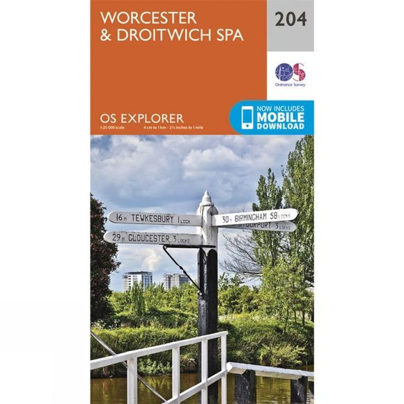 Ordnance Survey Explorer Map 204 Worcester and Droitwich Spa V15