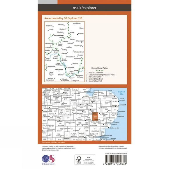 Ordnance Survey Explorer Map 210 Newmarket and Haverhill V15
