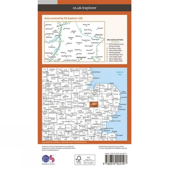 Ordnance Survey Explorer Map 226 Ely and Newmarket V15