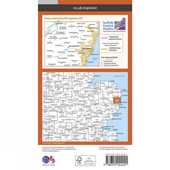Ordnance Survey Explorer Map 231 Southwold and Bungay V15