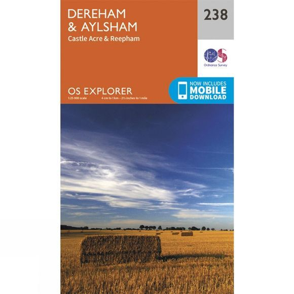 Ordnance Survey Explorer Map 238 Dereham and Aylsham V15