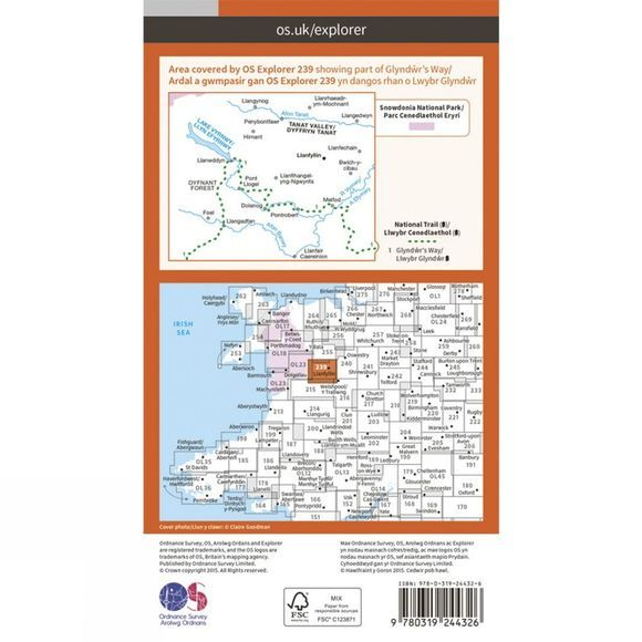 Ordnance Survey Explorer Map 239 Lake Vyrnwy and Llanfyllin V15