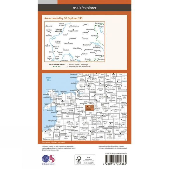 Ordnance Survey Explorer Map 243 Market Drayton V15