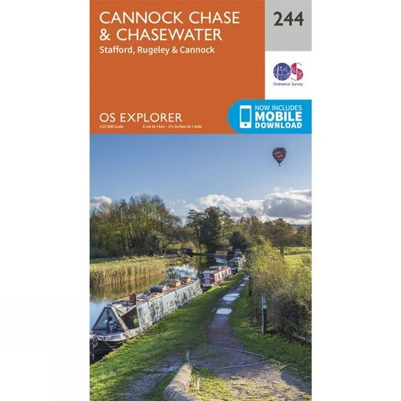 Ordnance Survey Explorer Map 244 Cannock Chase and Chasewater V15