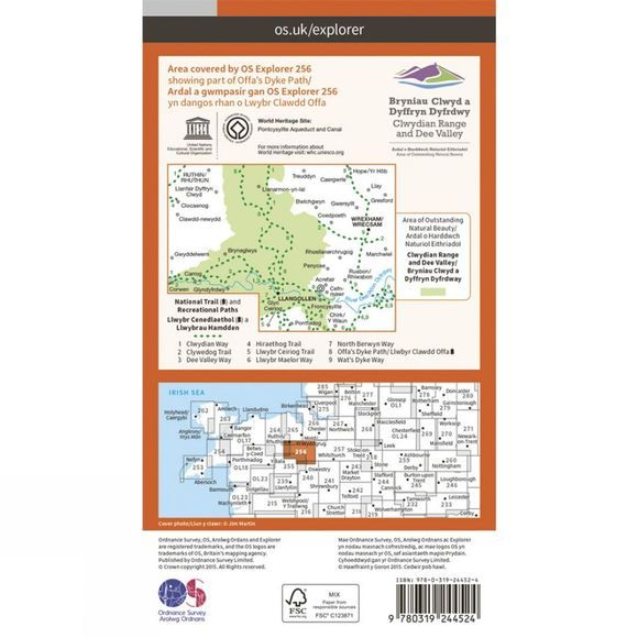 Ordnance Survey Explorer Map 256 Wrexham and Llangollen V15