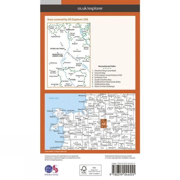 Ordnance Survey Explorer Map 258 Stoke-on-Trent and Newcastle-under-Lyme V15