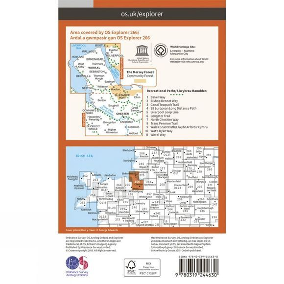 Ordnance Survey Explorer Map 266 Wirral and Chester V15