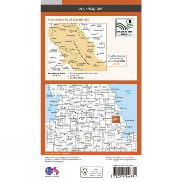 Ordnance Survey Explorer Map 282 Lincolnshire Wolds North V15